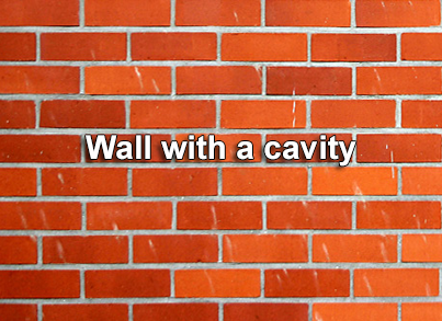 Bricks showing cavity wall