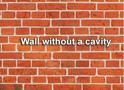 Bricks showing no cavity wall